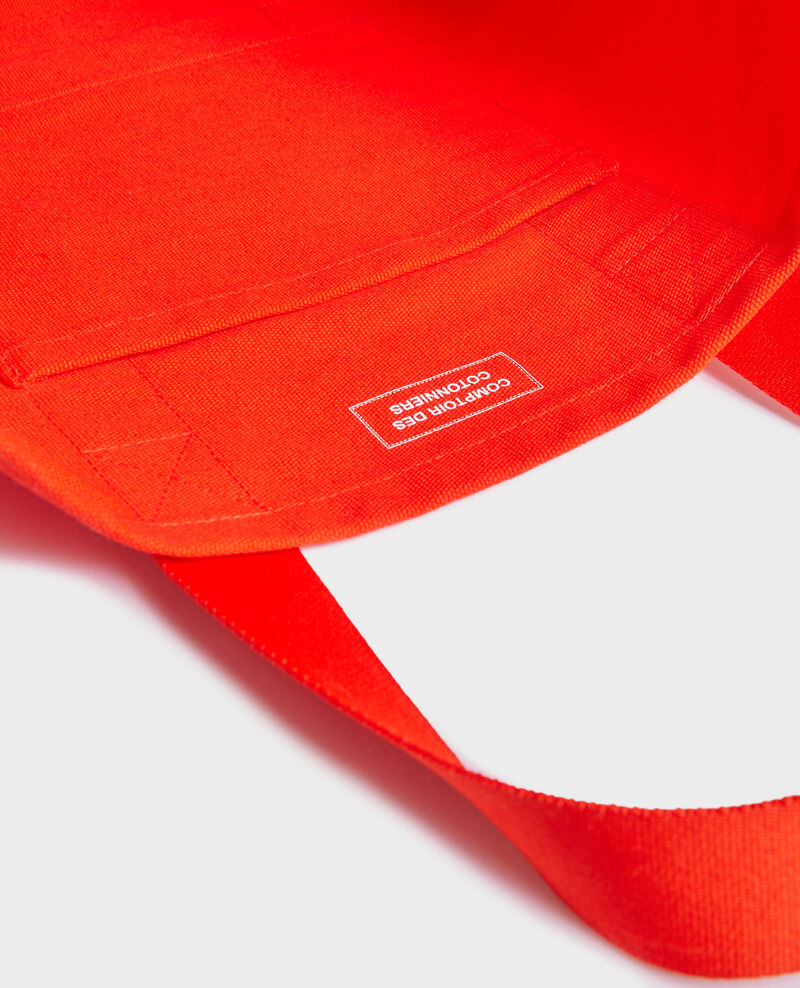 Multi-pocket cotton tote bag Spicy orange Naive