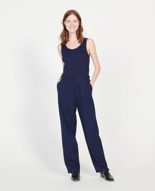 Linen and cotton trousers MARITIME BLUE