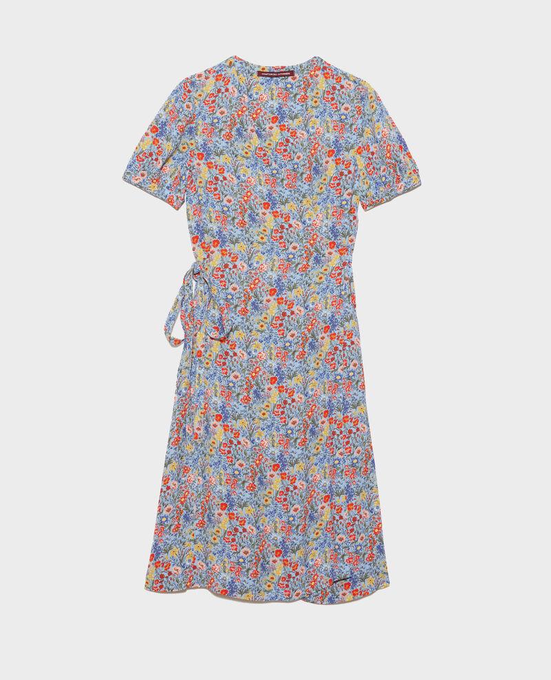 Printed wrap dress Prairie blue heron Nigent