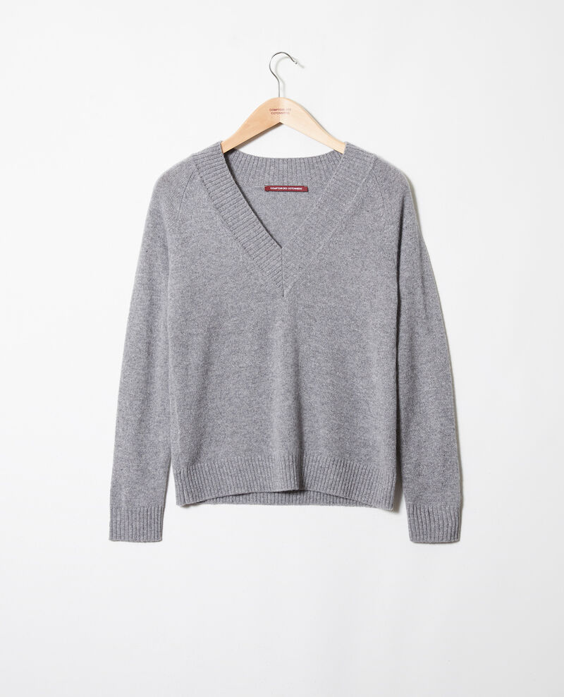 V-neck jumper with wide rib trim 100% cashmere Light grey Jaye