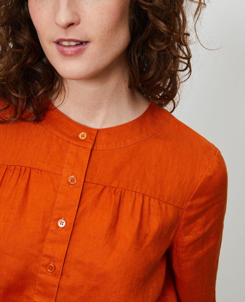 Linen polo blouse Gold flame Lantoine
