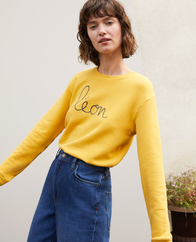Embroidered Léon sweatshirt Golden spice/peacoat Gleon