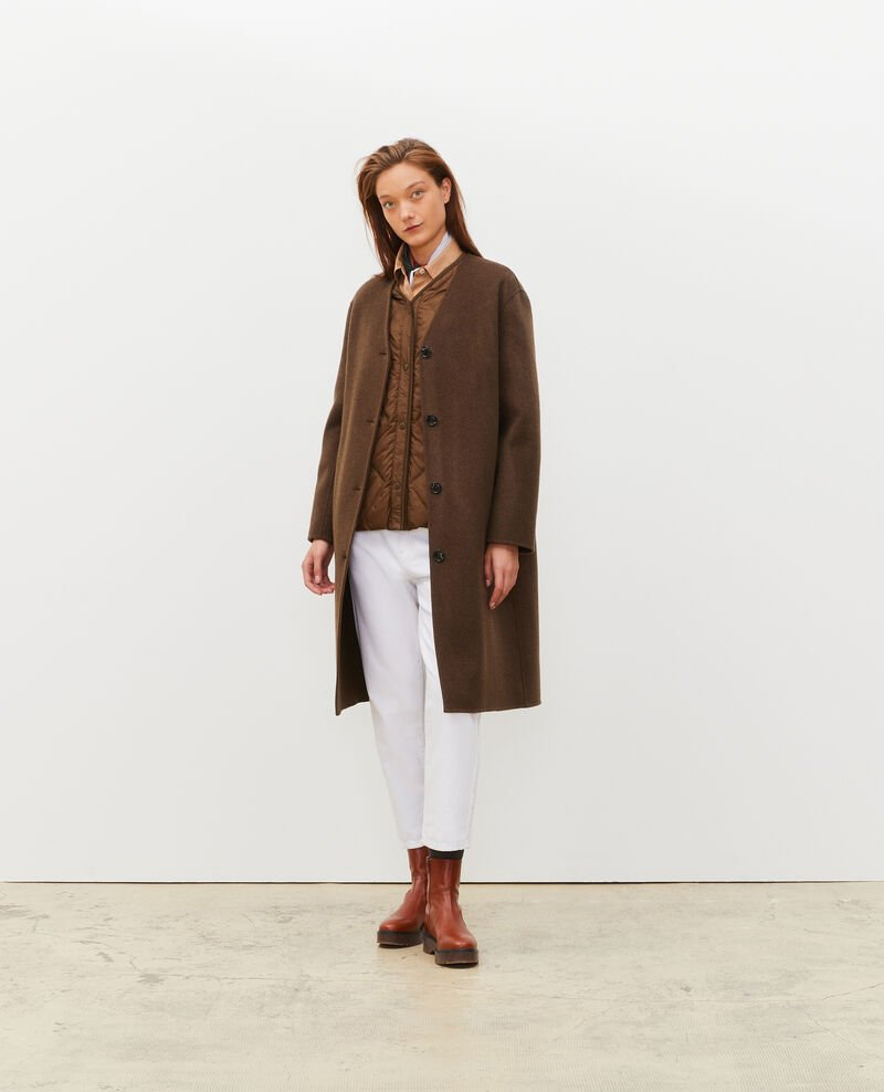 Double-sided wool coat Heather kaki Muuck