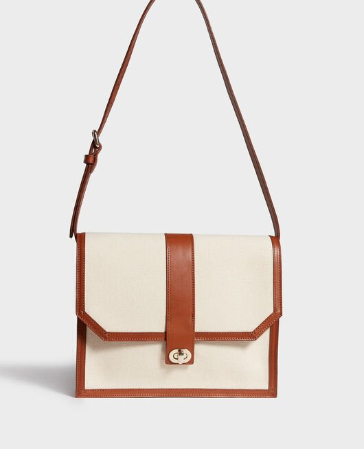 Canvas and leather flap bag GARDENIA CAMEL