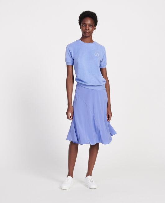 Silk A-line skirt BAJA BLUE