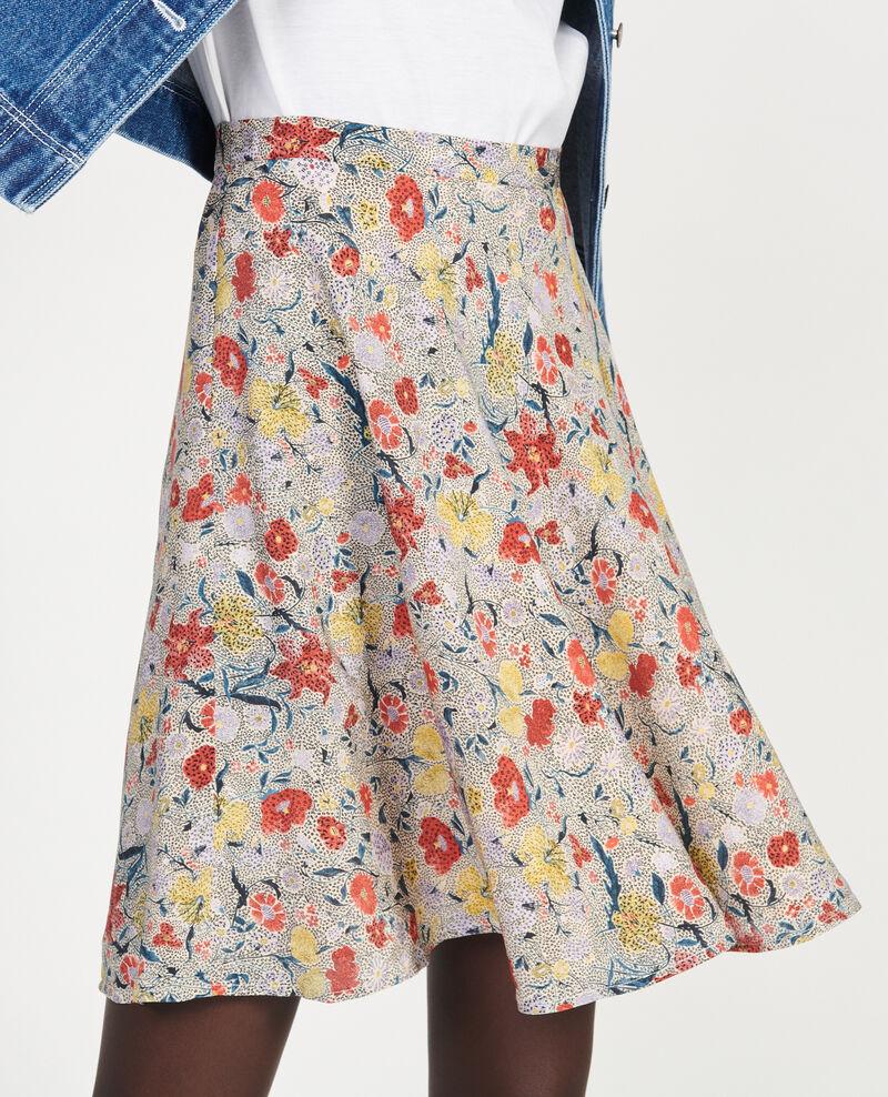 Floral silk flared mini skirt Print eden cream Maurau