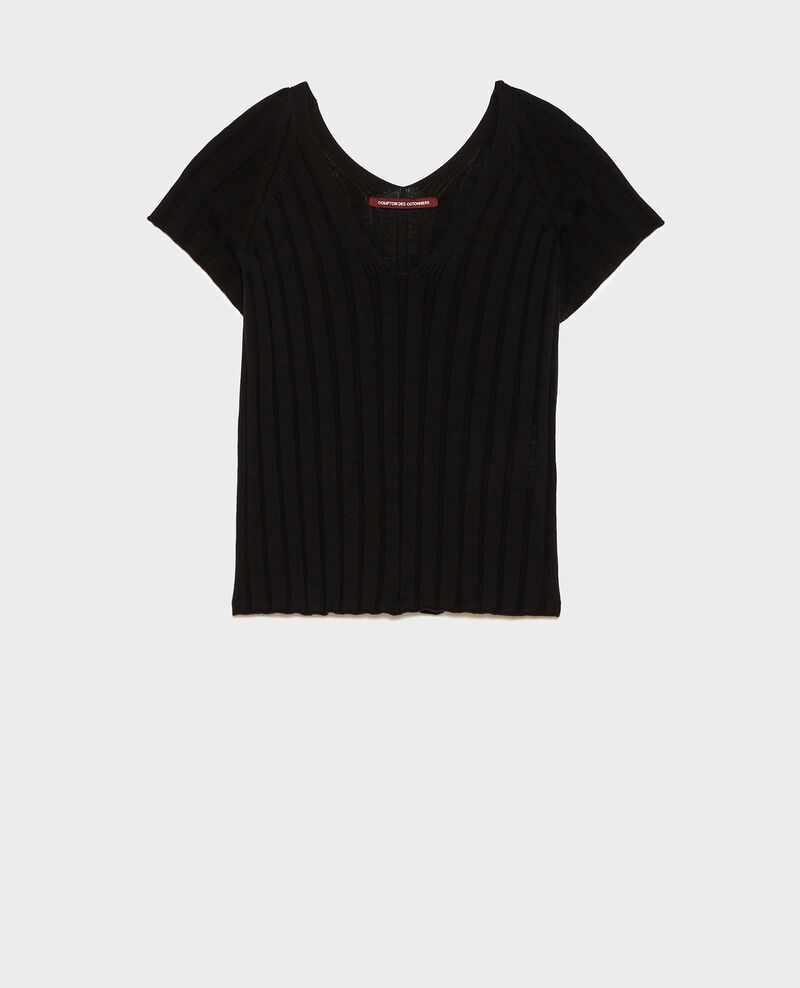 3D rib knit jumper Black beauty Loupy