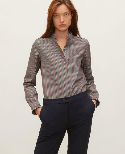 Ruffled high collar cotton shirt STRIPES3 SCARAB