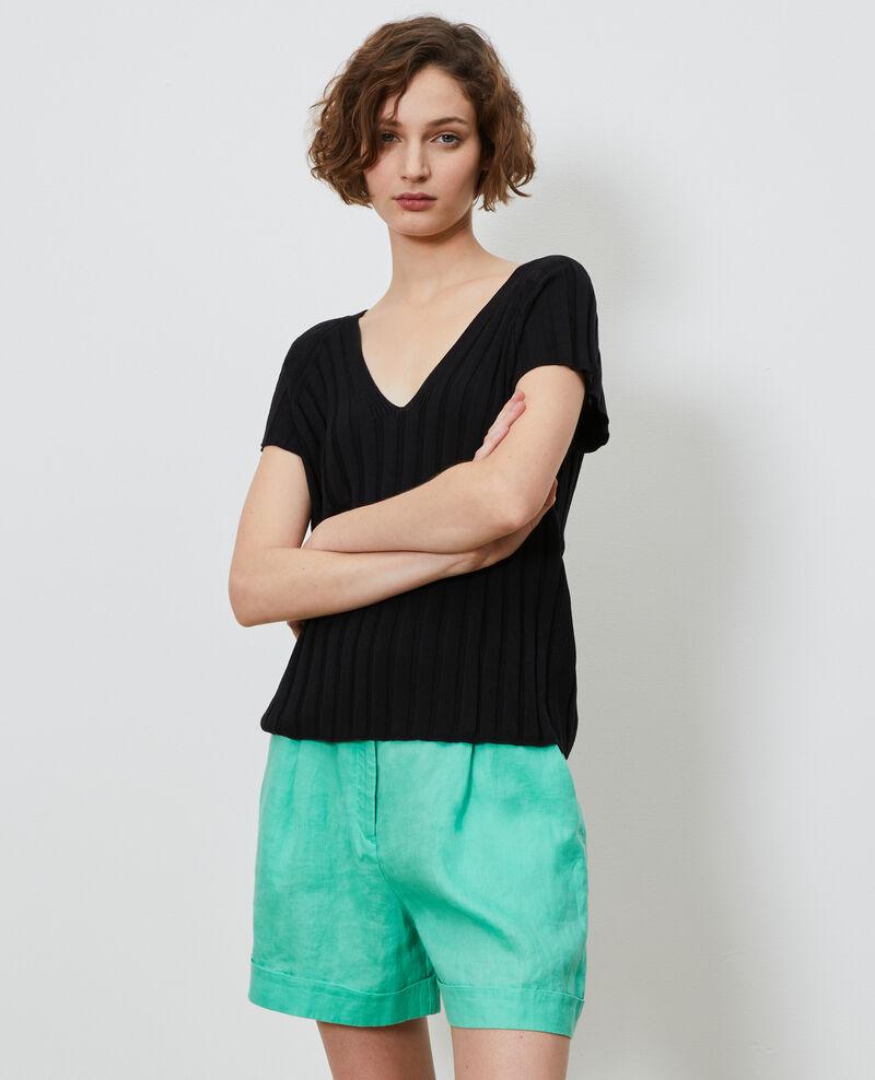 3D rib knit jumper Black beauty Loupy