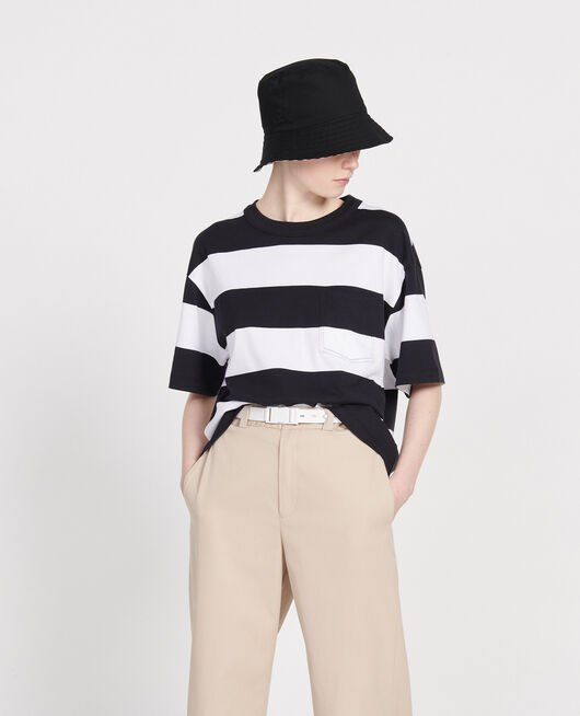 Oversize striped t-shirt STR OPTICALWHITE BLACK