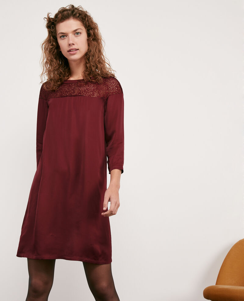 Satin and lace dress Burgundy Datillon