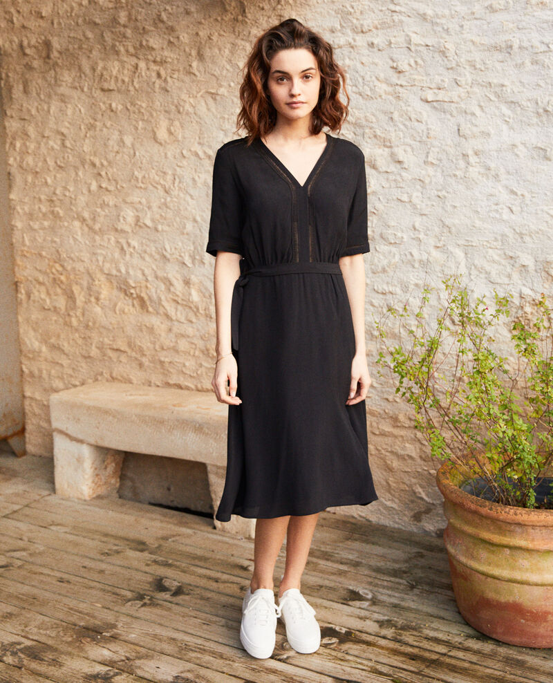 Dress with embroidered inserts Noir Grigue