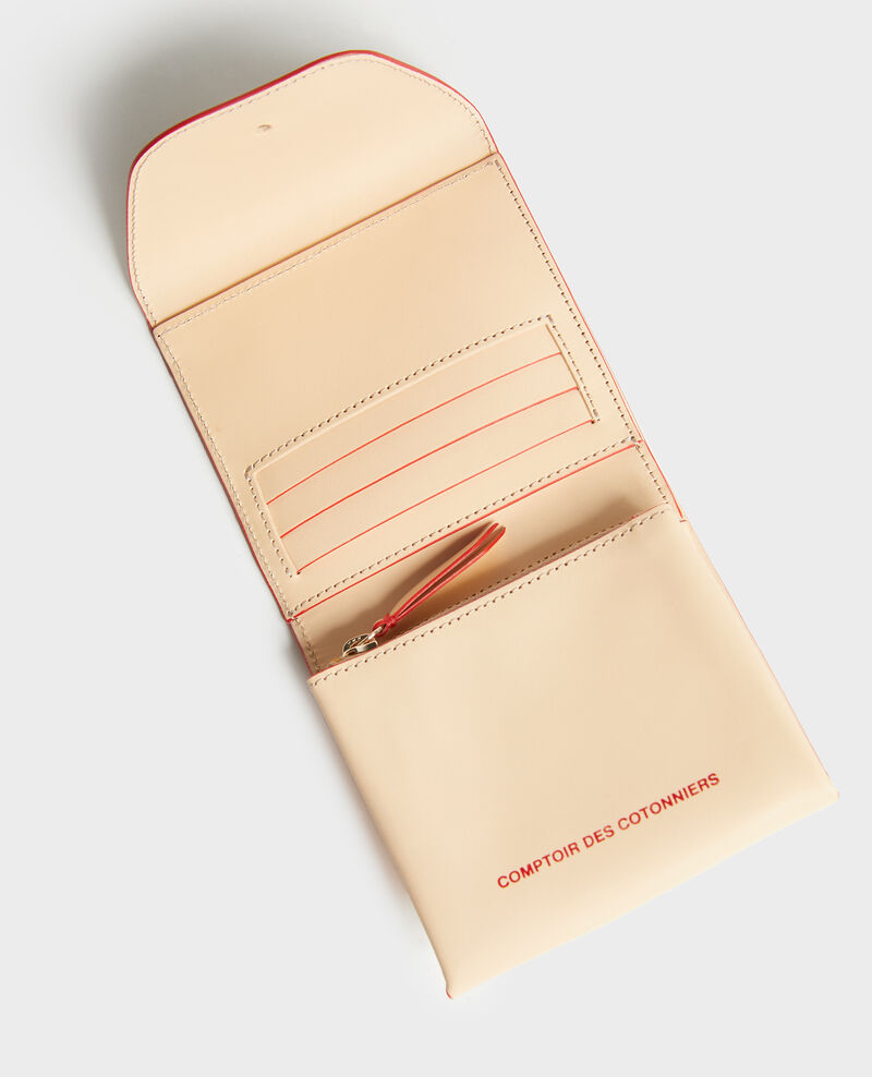 Smooth leather wallet Stripes fiery red gardenia Lecadet