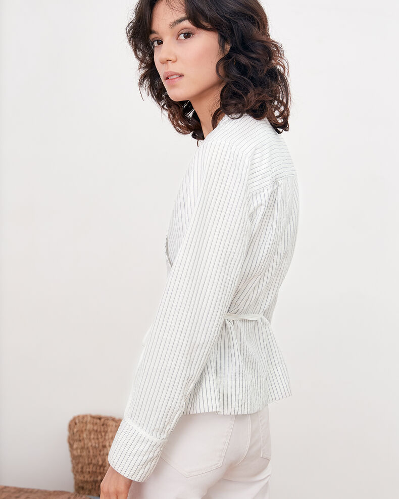 Wrapover blouse Off white/navy stripes Figaro