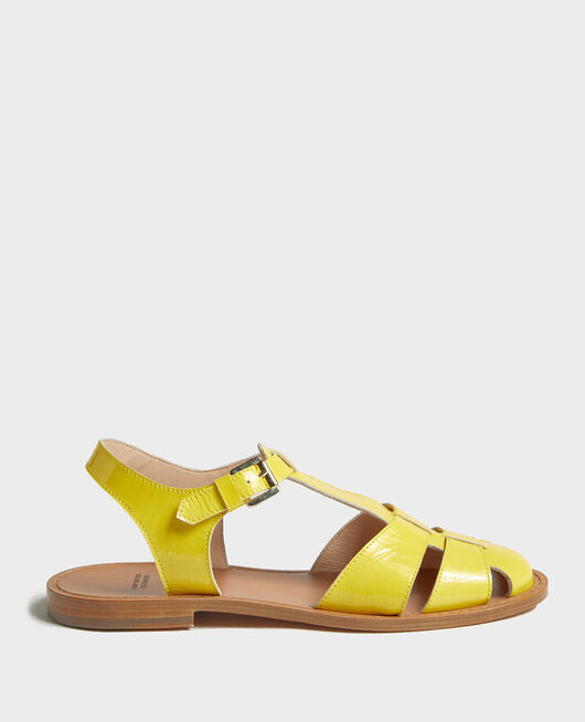 Patent leather sandals MAIZE