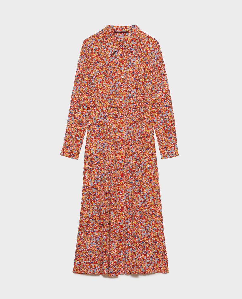 Printed maxi shirt dress Garden royalblue Narbonnie