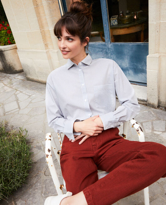 Striped cotton shirt SS NAVY