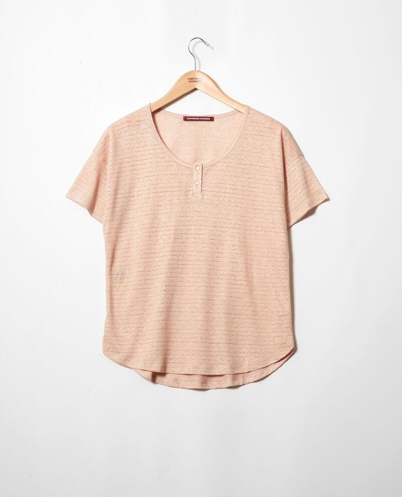 Linen-blend shiny T-shirt Pink beige Imape
