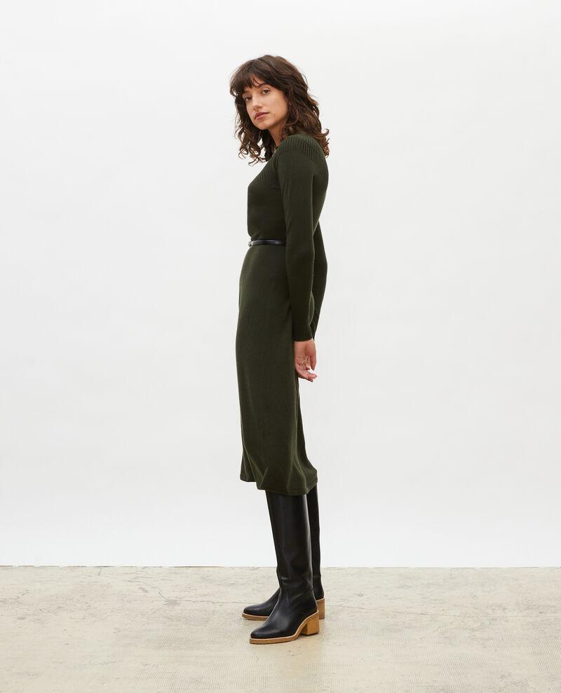 Round neck flared merino wool dress Military green Malouy