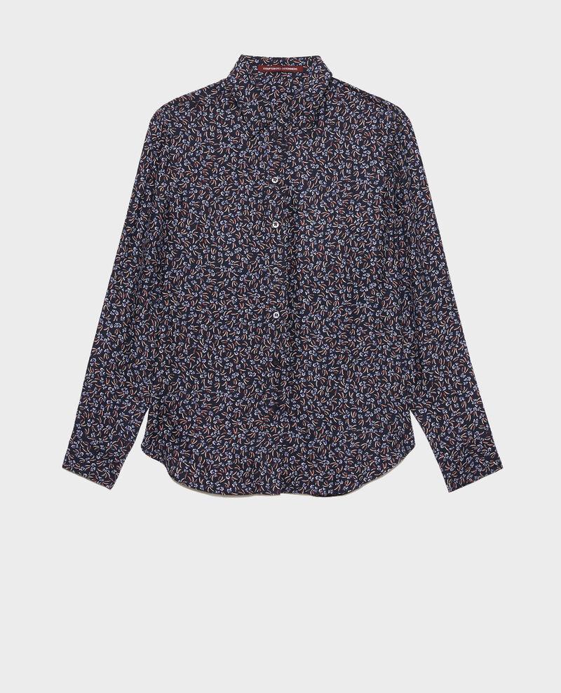 SIBYLLE - Printed silk shirt Clochette navy Nabilo