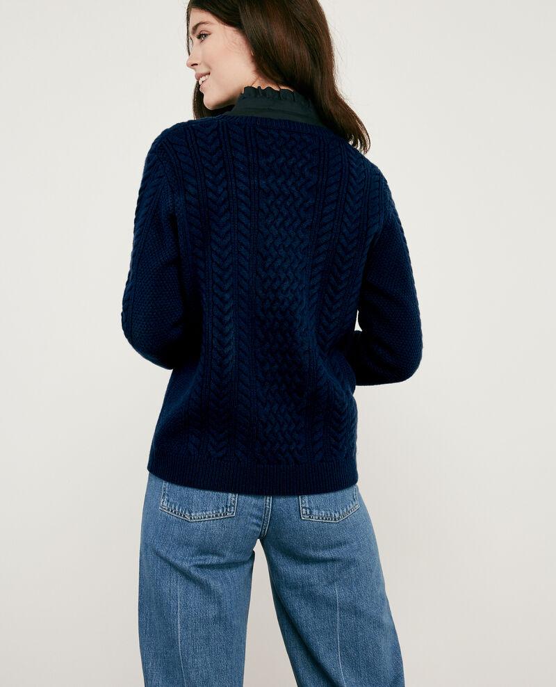100% wool cable knit jumper Light navy Dodger