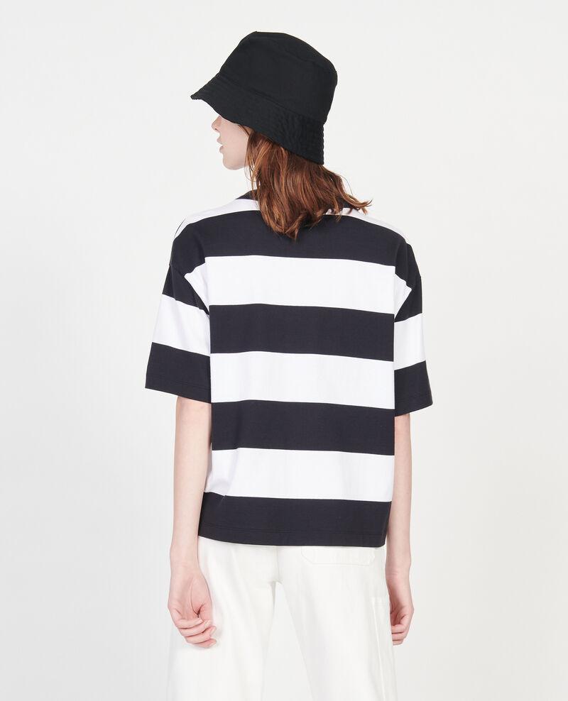 Mercerised cotton oversize striped t-shirt Str opticalwhite black Lord