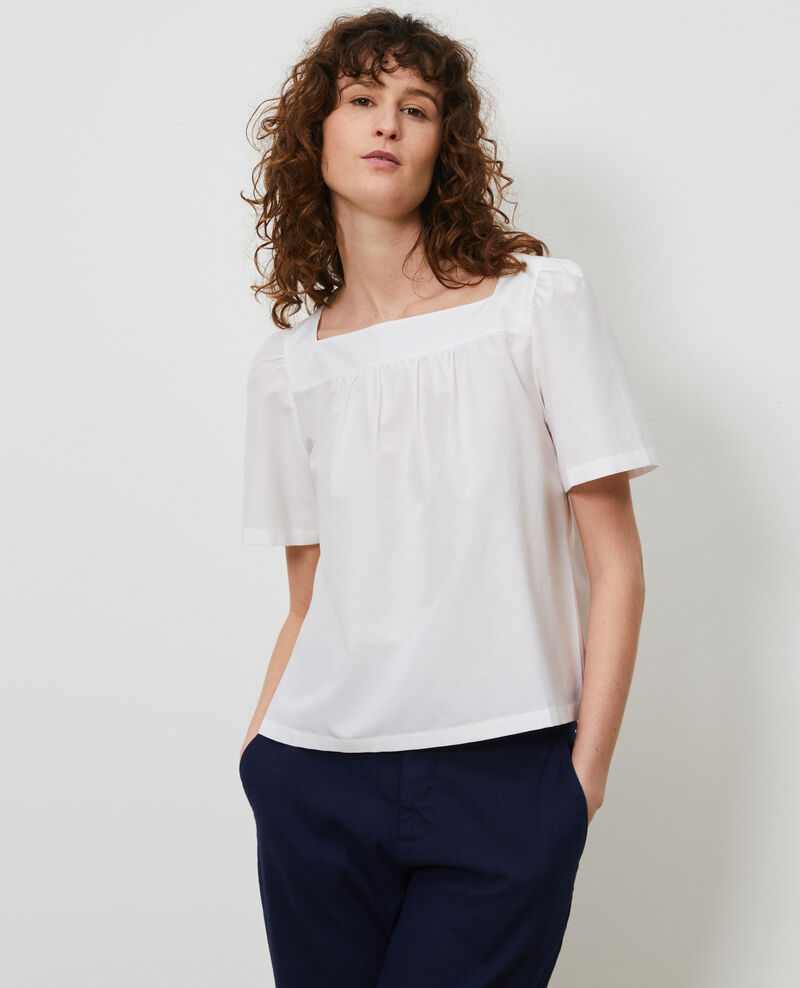Cotton and silk top Brilliant white Nondo