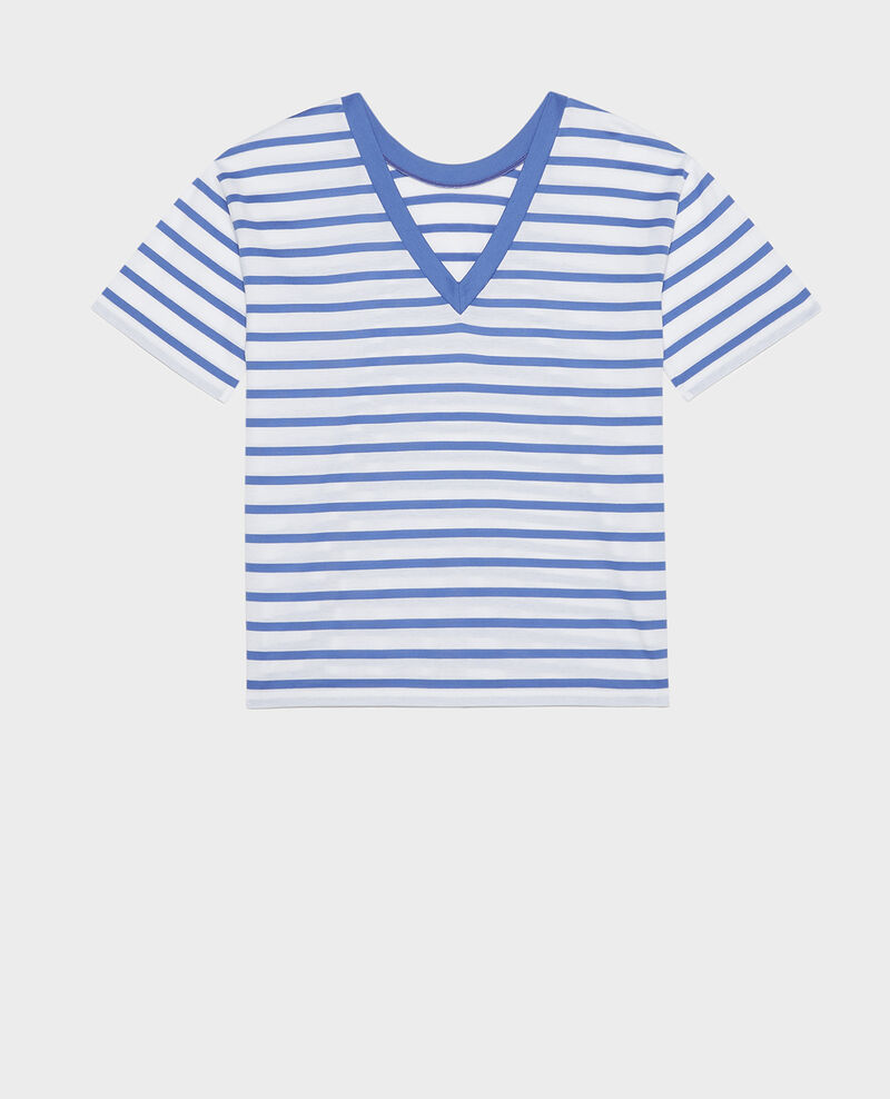 Egyptian cotton t-shirt Stripes optical white amparo blue Lisou