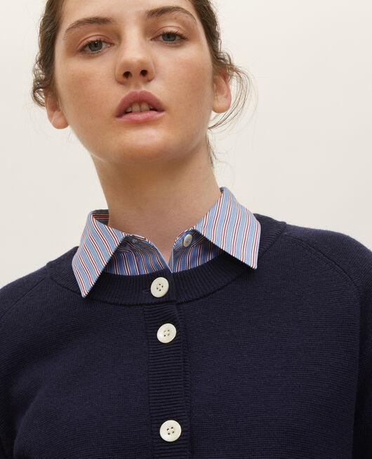 Round neck wool cardigan MARITIME BLUE