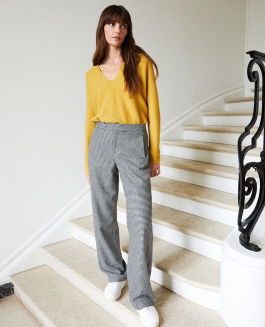 Wide flannel houndstooth trousers HOUNDTOOTH