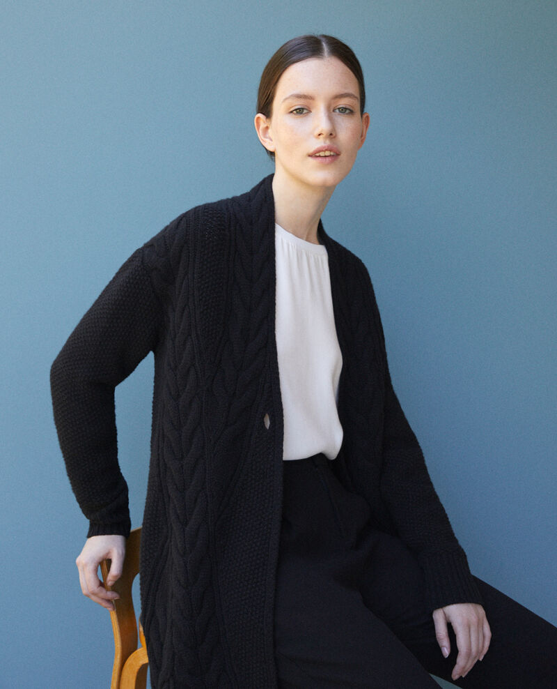 Cardigan with braiding details Black Goatigan