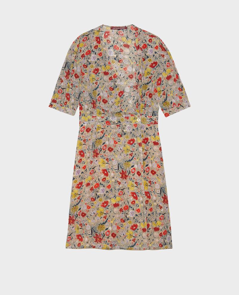 Floral silk wrap mini dress Print eden cream Meanie