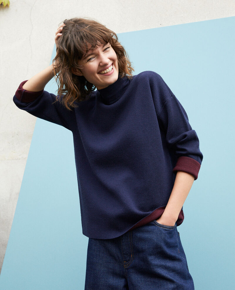 Double-sided merino wool jumper Blue Gibbon