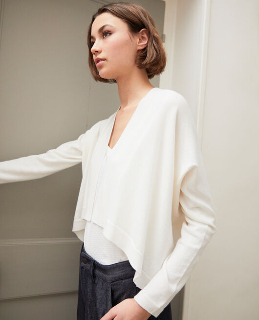 3D cotton short cardigan OFF WHITE