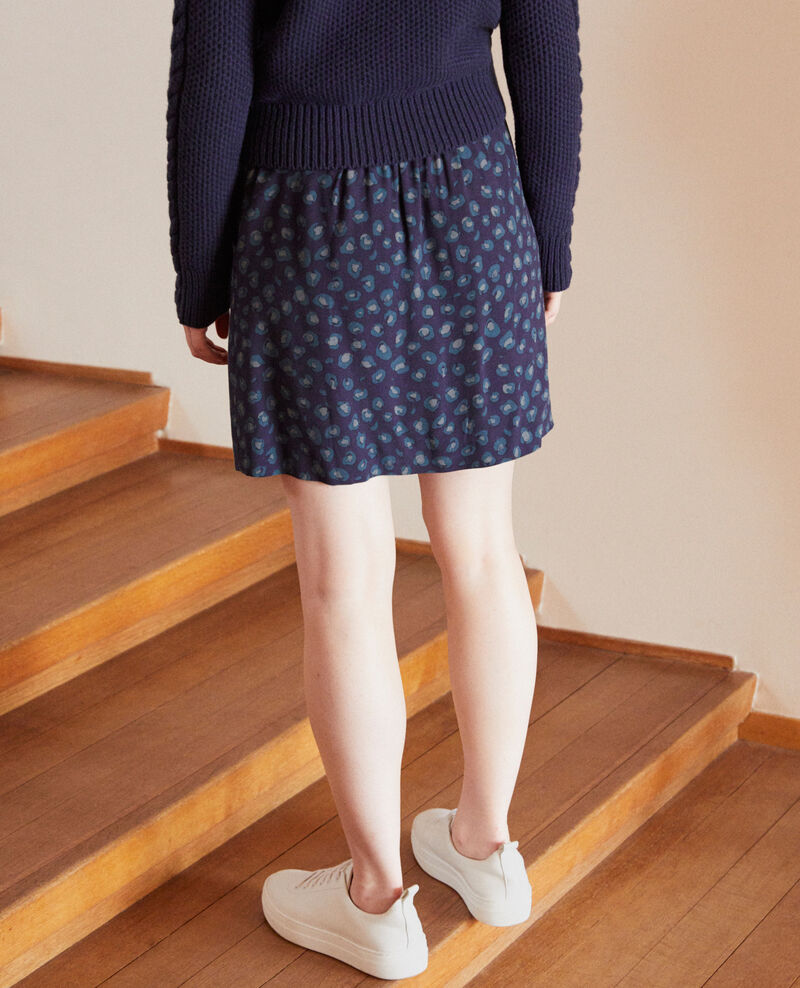 Printed mini skirt Blue Gobolt