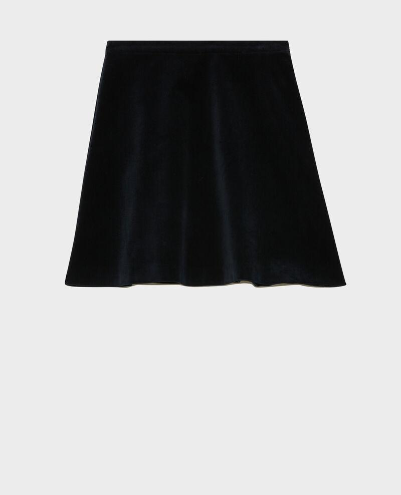 Velvet flippy mini skirt Navy deep Pair
