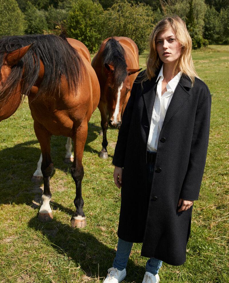 Classic double-sided coat  Noir Jacare