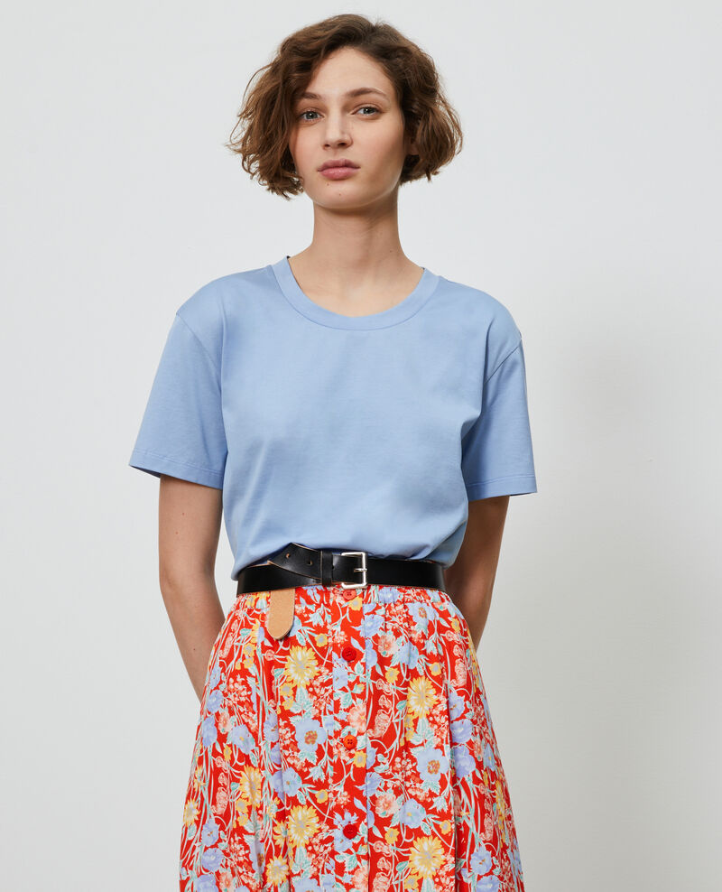 Round neck cotton t-shirt Blue heron Lirous