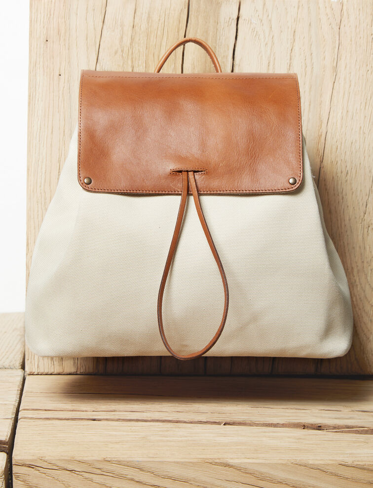 Canvas and leather backpack Ecru Ikado