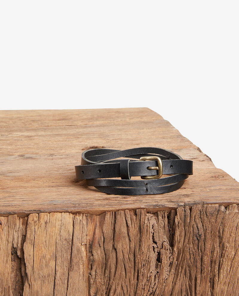 Braided leather belt Noir Fiole