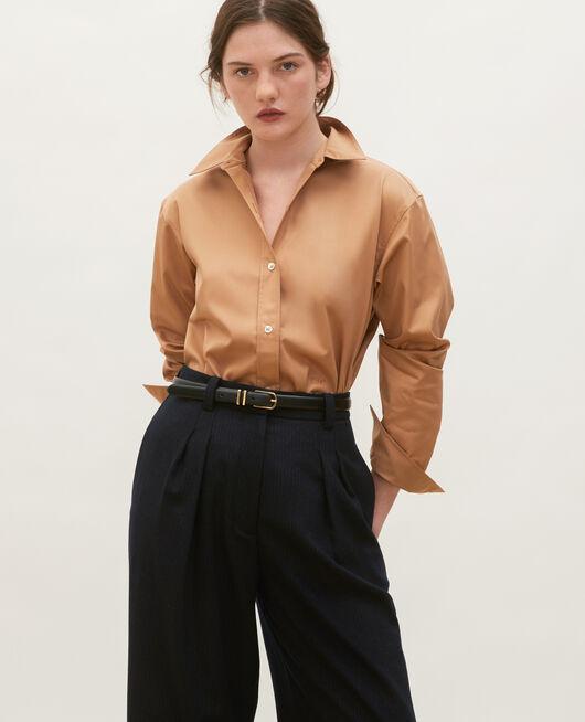 Supima cotton boyfriend shirt LATTE