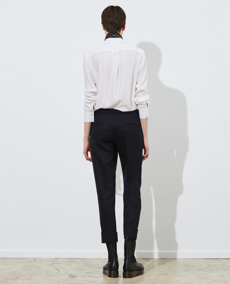 Tapered wool 7/8 trousers MARGUERITE Night sky Mokoy