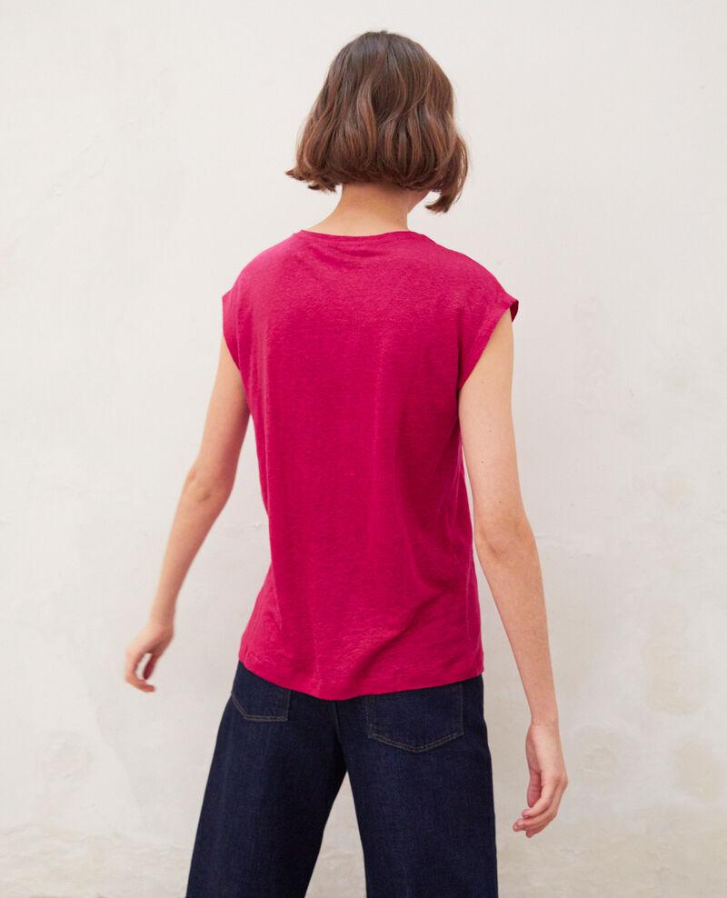 Embroidered linen T-shirt Fushia Imomo