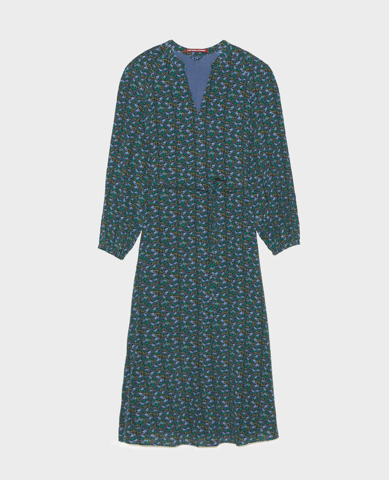 V-neck silk maxi dress with belt Print artdeco darkgreen Marieuxa