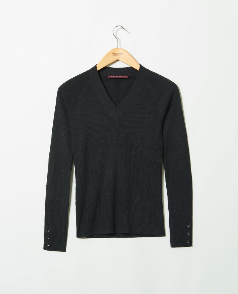 V-neck jumper 100% Merino Wool Noir Jessou