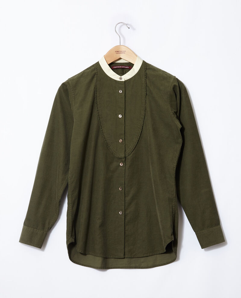 Velvet shirt with mandarin collar Green Goisette