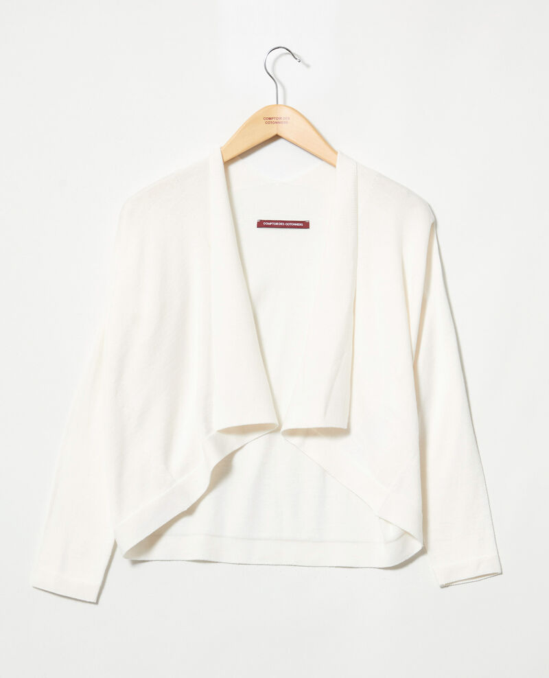 3D cotton short cardigan Off white Ijape