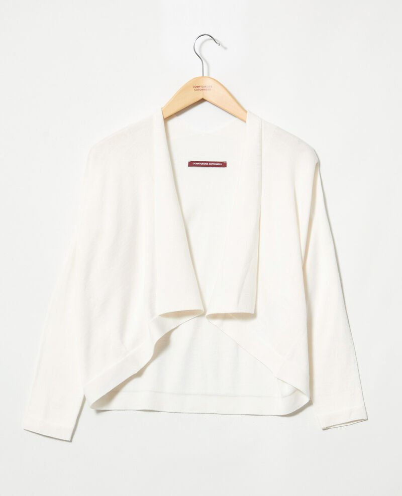 3D cotton short cardigan Off white Ijape