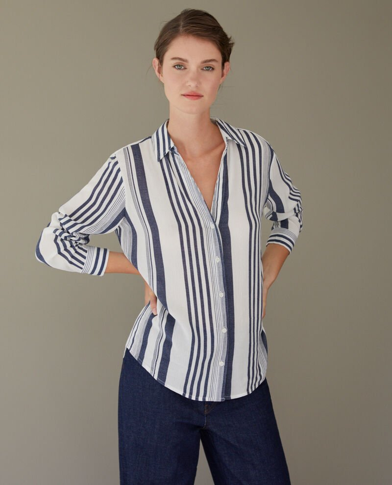 Striped shirt Indigo/white Crepon