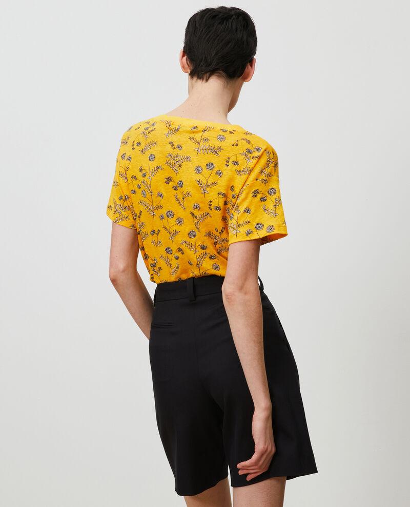Linen V-neck t-shirt Coronille gold Nayeli